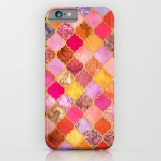 Hot Pink, Gold, Tangerine & Taupe Decorative Moroccan Tile Pattern Slim Case iPhone 6