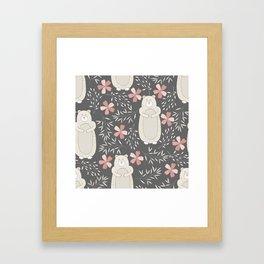 Bear and Flowers Framed Art Print