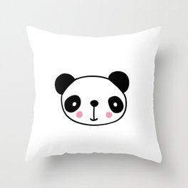 Cute panda head in black and white Throw Pillow
