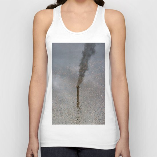 Factory Chimney  Reflection in Water Unisex Tank Top