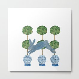 Topiary Country French Bunny Rabbit Ginger Jars Metal Print