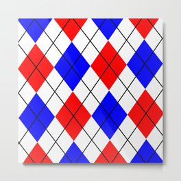 Red And Blue Argyle Design Metal Print