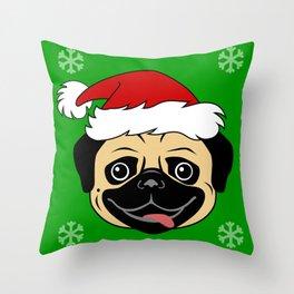 Pug Christmas Santa Hat Throw Pillow
