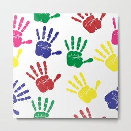Colorful Handprints Metal Print