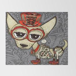 Steampunk Chihuahua Victorian Ornate Throw Blanket