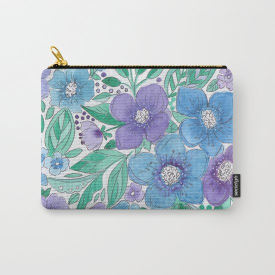 Watercolor . Blue Bouquet. Carry-All Pouch