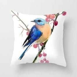 Bluebird and Berries Throw Pillow