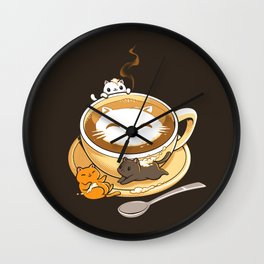 Latte Cat Wall Clock