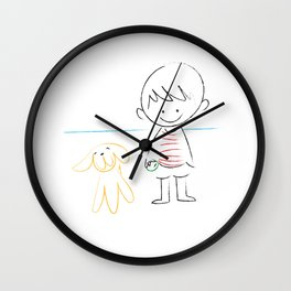 child and puppy Wall Clock