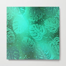 Neon Green Tropical Jungle Leaves Pattern Metal Print