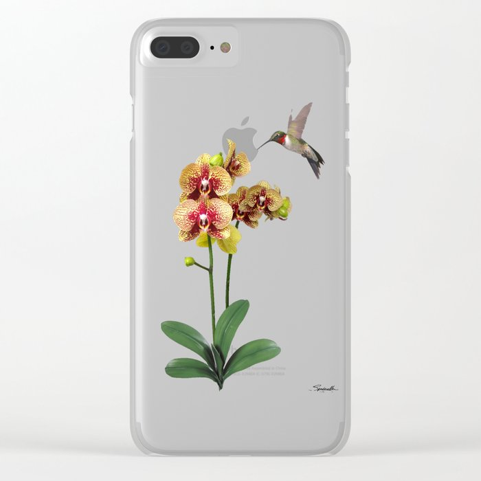 Hummingbird & Phalaenopsis Clear iPhone Case