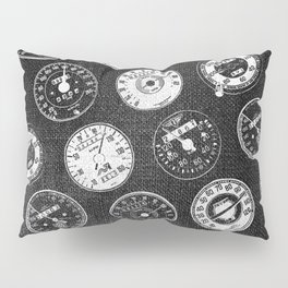 Dark Vintage Motorcycle Speedometers Pillow Sham