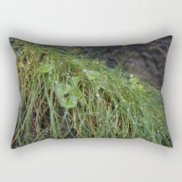 Dew Covered Coastal Plants on the Cliffs Rectangular Pillow