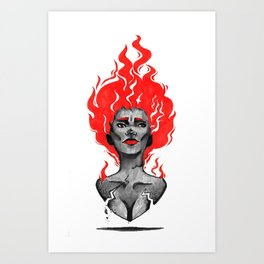 Cute Sexy Volcano Girl with Flame Hair Art Print