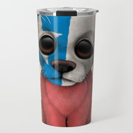 Cute Puppy Dog with flag of Chile Travel Mug