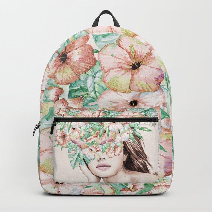 She Wore Flowers in Her Hair Island Dreams Backpack