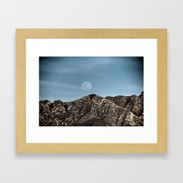 Moon over the Franklin Mountains Framed Art Print