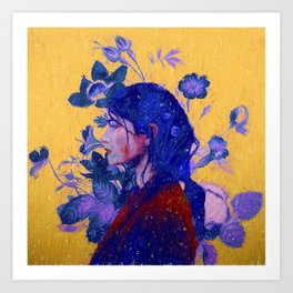 mysterious woman in flowers Art Print