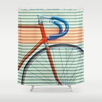 striped Shower Curtains featuring Standard Striped Bike by Fernando Vieira