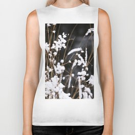 First Snow in Forest - White on Black #decor #society6 #buyart Biker Tank