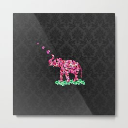 Retro Flower Elephant Pink Sakura Black Damask Metal Print
