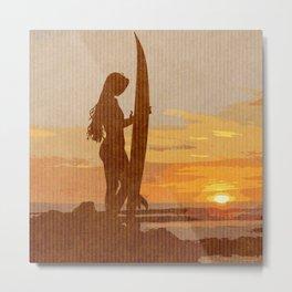 Retro Surfer Girl  Metal Print