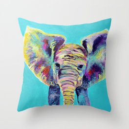 Baby Blue Elephant Throw Pillow
