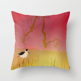 Setting sun on the rice field Throw Pillow