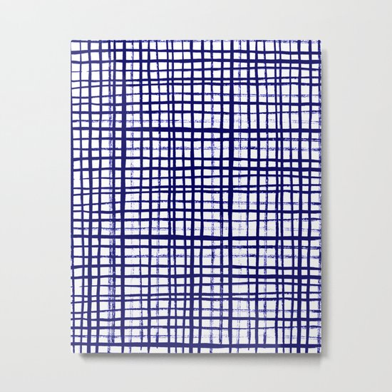 Grid indigo blue bold dramatic modern minimal abstract painting lines gridded pattern print minimal Metal Print