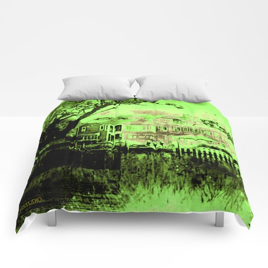 Green Spooky Boathouse Comforters