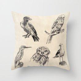 Bird vintage sketches 2 Throw Pillow