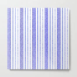 Thin Blue Speckled Vertical Line Pattern Metal Print