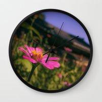 seoul Wall Clocks featuring Seoul Flower by Clayton Jones