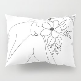 Minimal Line Art Nude Woman with Flowers Pillow Sham