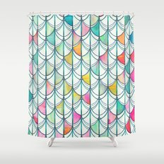 Pencil & Paint Fish Scale Cutout Pattern - white, teal, yellow & pink Shower Curtain
