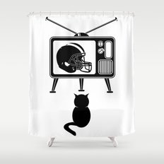 cat watching american football shower curtain