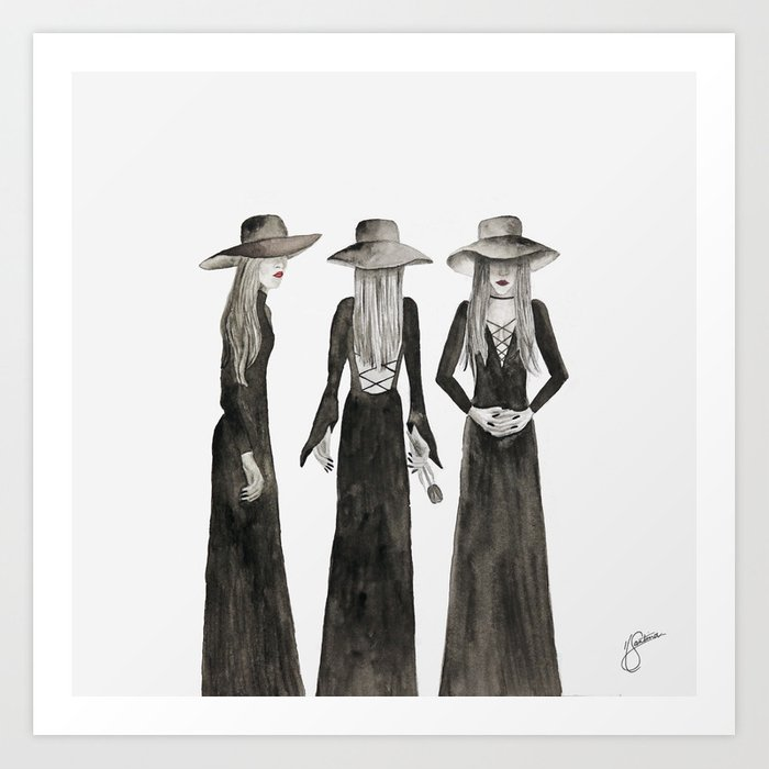 Southern Gothic Witch Coven Watercolor Art Print by santinaartstudio