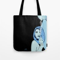 cigarettes Tote Bags featuring Genevieve & Cigarettes  by Andrew Formosa