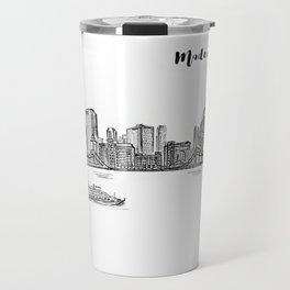 Ink Sketch Pittsburgh Skyline Travel Mug