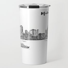 Ink Sketch Pittsburgh Skyline Travel Mug