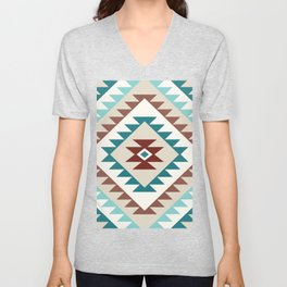 Aztec Motif Diamond Teals Creams Browns Unisex V-Neck