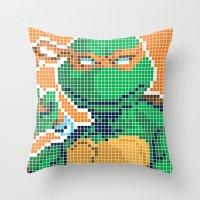 teenage mutant ninja turtles Throw Pillows featuring Teenage Mutant Ninja Turtles - Michelangelo by James Brunner
