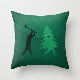Funny Cartoon Christmas tree is chased by Lumberjack / Run Forrest, Run! Throw Pillow