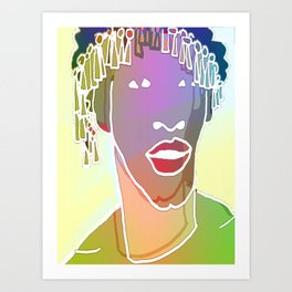 Ebony Purple Headdress White Art Print
