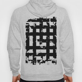 Splatter Hatch - Black and white, abstract hatched pattern Hoody