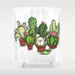 Green - Cactus and Hedgehog Shower Curtain