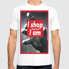 I Shop Therefore I Am Mens Fitted Tee White MEDIUM