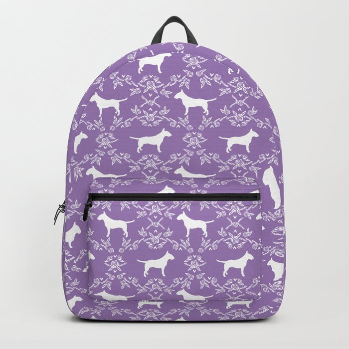 Bull Terrier silhouette florals dog breed pet pattern floral terriers bull terriers gifts Backpack