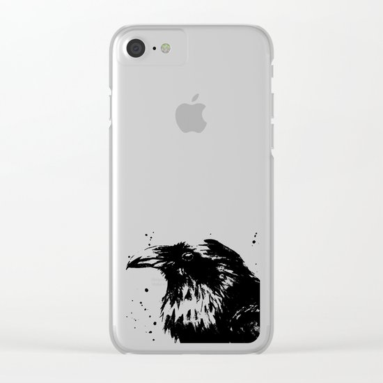 Raven Watercolor Bird Animal Clear iPhone Case