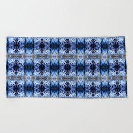 snowflake in blue 8 pattern Beach Towel